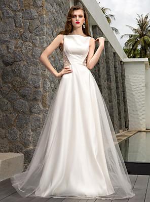 Lanting Bride A-line Petite / Plus Sizes Wedding Dress-Sweep/Brush Train Bateau Tulle