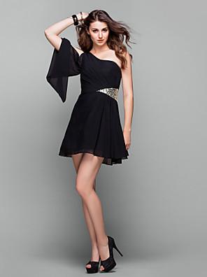Fiesta de Cóctel / Baile de Promoción / Festivos Vestido - Elegante / Vestiditos Negros Corte en A Sobre un Hombro Corta / Mini Raso con