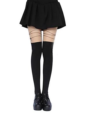 גרביים וגרביונים לוליטה קלאסית ומסורתית לוליטה לוליטה Black לוליטה אביזרים גרביונים דפוס ל נשים פוליאסטר
