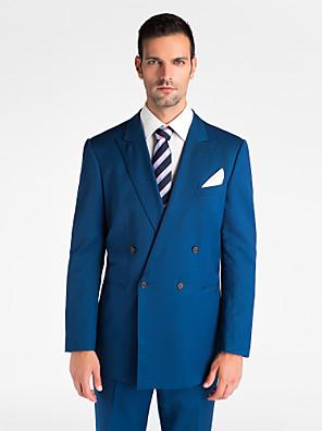(Prémio) blue 100% lã escuro adaptados ajuste uit de duas peças