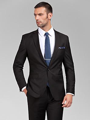 Obleky Na míru Úzké otevřené Jednořadé s jedním knoflíkem Polyester 2 ks Černá Rovné s klopou Žádný (rovné nohavice)Žádný (rovné