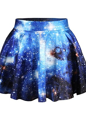 PinkQueen Women's Spandex Blue Galaxy Print Pleated  Skirt