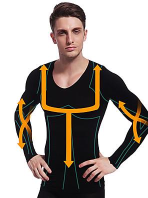 איש ההרזיה ny102 השחור ניילון חזה שרוול ארוך ומעצב גוף בטן בטן מוצקה חולצה תחתונים תרמית