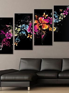 strakt lærred kunst smukke blomster dekoration sæt 4