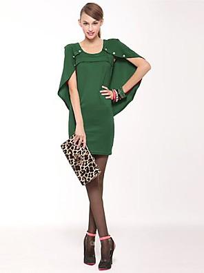 Women's Work Dress Above Knee Sleeveless Red / Green Cotton / Polyester Spring / Fall / Winter