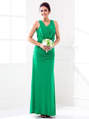 Floor-length Jersey Bridesmaid Dress Sheath / Column Cowl Plus Size / Petite with Split Front