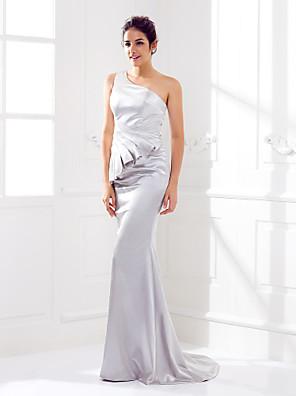 Lanting Bride® שובל סוויפ \ בראש סאטן נמתח שמלה לשושבינה  בתולת ים \ חצוצרה כתפיה אחת פלאס סייז (מידה גדולה) / פטיט עם בד נשפך בצד