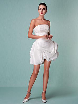 小柄/プラスウェディングドレスショート/ミニストラップレスタフタサイズ花嫁の夜会服をランティング