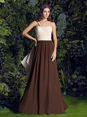 Lanting Bride® שובל סוויפ \ בראש שיפון שמלה לשושבינה  גזרת A כתפיה אחת פלאס סייז (מידה גדולה) / פטיט עם בד בהצלבה / סיכה מקריסטל / סלסולים