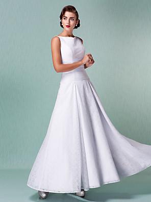 몸집이 작은 A 라인 신부 lanting / 플러스 웨딩 드레스 발목 길이의 스트랩 레이스 크기