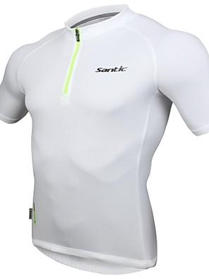 SANTIC® חולצת ג'רסי לרכיבה לגברים שרוול קצר אופניים נושם / רצועות מחזירי אור ג'רזי / צמרות פוליאסטר אחיד אביב / קיץרכיבה על