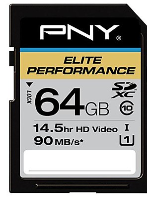 PNY 64GB Class 10 SDXC SDHC Memory Card Elite Performance UHS-1 90MB/sec