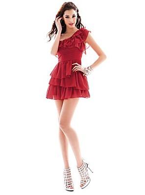 De joannekitten® vrouwen sexy een schouder nek chiffon ruches gelaagde jurk