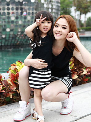 Family's Fashion Leisure English Letters Parent Child Short Sleeve Short Skirt Clothing Sets