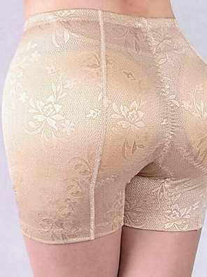 Women's Lace Black Beige High Rise Shaping Panties With Padded