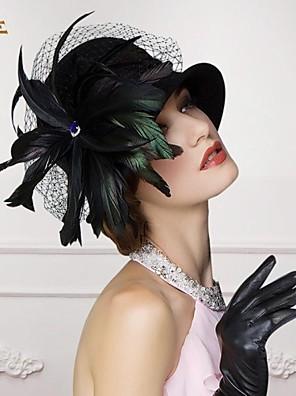 גבירותיי צמר מדהימות חתונה / מסיבה / כובע חיצוני עם נוצה וגביש