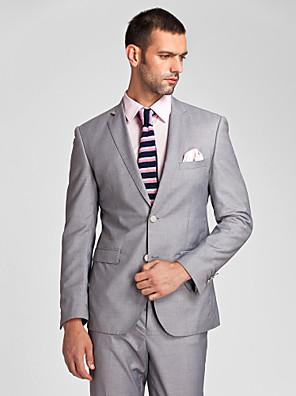 Obleky Na míru Úzké otevřené Jednořadové se dvěma knoflíky Polyester 2 ks Šedá Rovné s klopou Žádný (rovné nohavice)Žádný (rovné