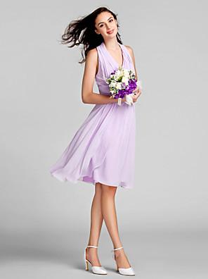Lanting Bride® Até os Joelhos Chiffon Vestido de Madrinha - Tubinho Nadador Tamanhos Grandes / Mignon com Pregueado / Franzido