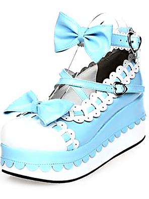 PU Leather 7CM  Platform Sweet Lolita Shoes with Row