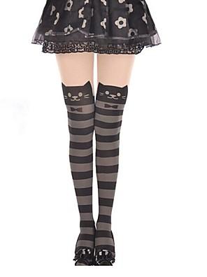 Sokken en kousen Schattig Lolita Prinses Zwart / Grijs Lolita Accessoires Kousen Gestreept  Voor Dames Fluweel