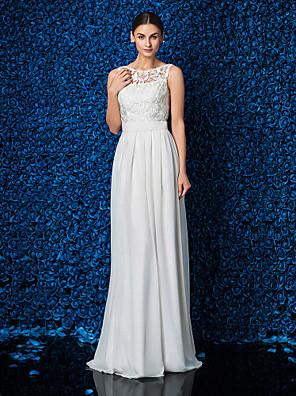 Lanting Bride Sheath/Column Petite / Plus Sizes Wedding Dress-Floor-length Jewel Chiffon / Lace