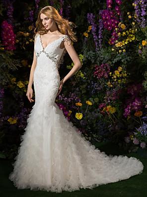 Lanting Bride® צמוד ומתרחב קטן שמלת כלה  שובל כנסייה (צ'אפל) צווארון וי תחרה / טול עם