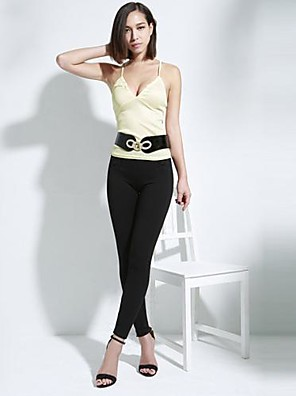 Women's Casual/Daily Sexy All Seasons T-shirt,Solid Strap Sleeveless Pink / Beige / Black Polyester Thin