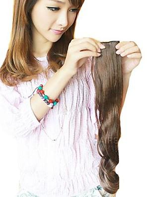 lang bølgete syntetisk og klippet i hårforlengelse med to klipp og fem stykker av en pakke (flere farger)