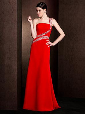Lanting Bride® עד הריצפה שיפון / סאטן נמתח שמלה לשושבינה  מעטפת \ עמוד כתפיה אחת פלאס סייז (מידה גדולה) / פטיט עם חרוזים
