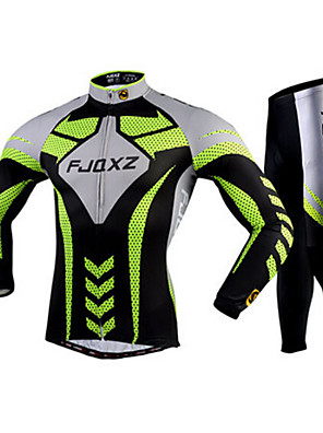 FJQXZ® חולצה וטייץ לרכיבה לגברים שרוול ארוך אופניים נושם / ייבוש מהיר / עמיד אולטרה סגול / 3D לוחטייץ רכיבה על אופניים / חולצה+מכנס /