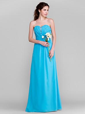 Lanting Bride® Na zem Šifón Šaty pro družičky - Pouzdrové Srdce Větší velikosti / Malé s Korálky / Nabírání / Sklady