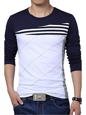 Effen-Informeel / Grote maten-Heren-Katoen / Polyester-T-shirt-Lange mouw Blauw / Wit