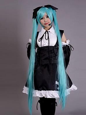Inspirovaný Vocaloid Hatsune Miku Video Hra Cosplay kostýmy Cosplay šaty / Šaty Patchwork Czarny Bez rukávůK šatům / Vlasové ozdoby /