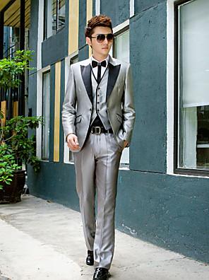 černá&šedé pevné látky slim fit smoking z polyesteru