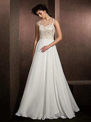 Lanting Bride® A-Linie Drobná / Nadměrné velikosti Svatební šaty Na zem Klenot Krajka / Saténový šifon s
