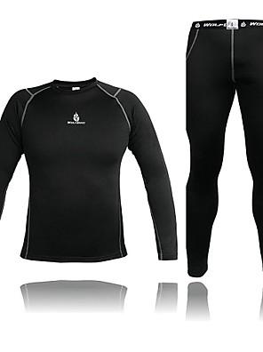 WOLFBIKE® חולצה וטייץ לרכיבה לגברים שרוול ארוך אופניים שמור על חום הגוף / דחיסה Suit דחיסה / חולצה+מכנס / מדים בסטים ספנדקס / גיזות אחיד