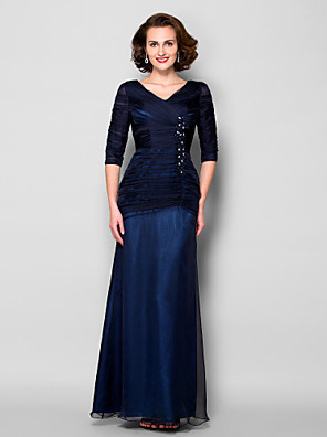 Sheath / Column Plus Size / Petite Mother of the Bride Dress Floor-length Half Sleeve Chiffon / Tulle withAppliques / Beading / Crystal