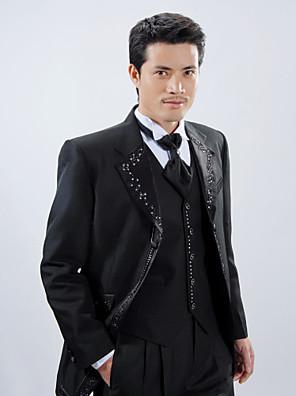 černý polyester slim fit čtyřdílná smoking