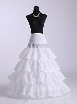 תחתונית  A- קו תחתוניות / סליפ שמלת נשף אורך עד לרצפה 4 Chinlon לבן