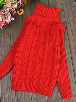 סוודר וקרדיגן אחיד סריגה חורף / סתיו ורוד / אדום / לבן / צהוב הילדה של
