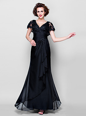 Sheath / Column Petite Mother of the Bride Dress Floor-length Short Sleeve Lace / Georgette with Lace / Ruching / Sequins