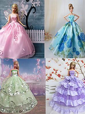 Prinsesse Kjoler Til Barbie Doll Lilla / Blå Kjoler For Pigens Doll Toy