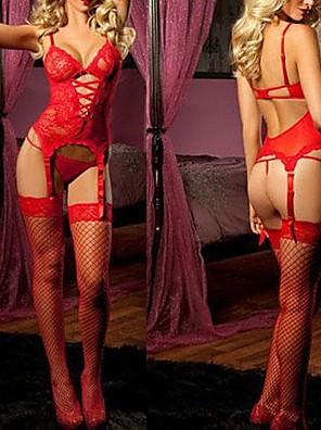 תחפושות קוספליי מדים פסטיבל/חג תחפושות ליל כל הקדושים אדום / ורוד חלול שמלה / גב T פוליאסטר