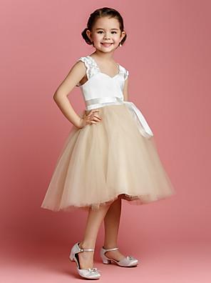 Lanting Bride Plesové šaty Ke kolenům Šaty pro květinovou družičku - Tyl / Charmeuse Bez rukávů Popruhy s Šerpa / Stuha