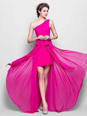 Lanting Bride® עד הריצפה שיפון שמלה לשושבינה - מעטפת \ עמוד כתפיה אחת פלאס סייז (מידה גדולה) / פטיט עם פפיון(ים)