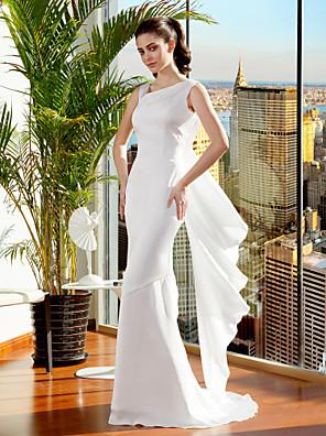 Lanting Bride® Mořská panna Drobná / Nadměrné velikosti Svatební šaty Dlouhá vlečka Popruhy Šifón s