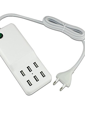 6 USB port asztali fali töltő adapter iPhone / iPad és társai (60W, 100 ~ 240 V, DC5V 12a, eu dugó, 1.5m)