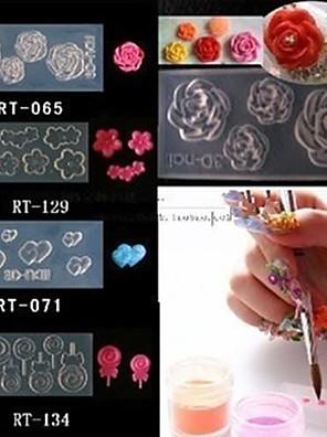 4 stil akryl blomster 3d nail art skimmel diy dekoration mode