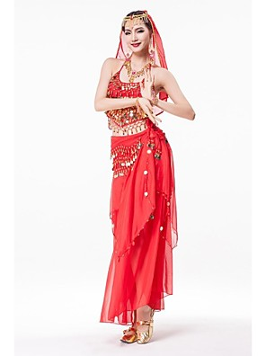 Belly Dance Outfits Women's Performance Chiffon / Sequined / Metal Gold Coins / Crystals/Rhinestones / Ruffles / Sash/Ribbon / Sequins4