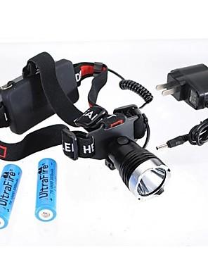 Iluminação Lanternas de Cabeça LED 1200 Lumens Modo Cree XM-L T6 18650.0Prova-de-Água / Recarregável / Resistente ao Impacto / Bisel de